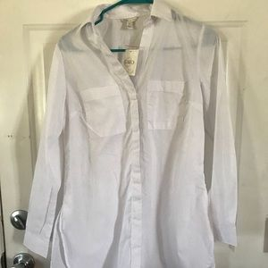 Long sleeved white NWT button up blouse